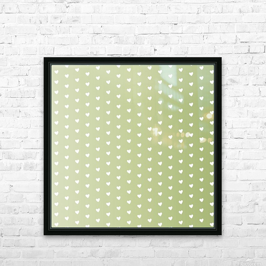 Kids Green Heart Shape Pattern HD Sublimation Metal print with Decorating Float Frame (BOX)