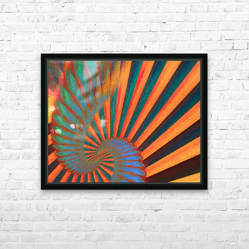 Composition in Orange Blue & Green HD Sublimation Metal print with Decorating Float Frame (BOX)