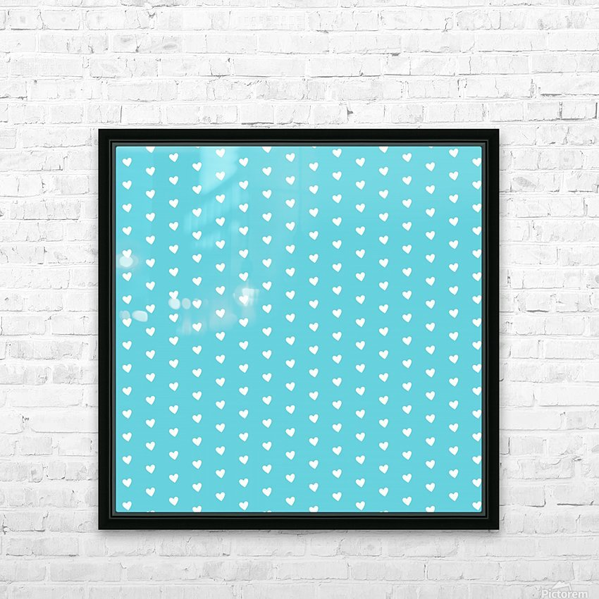 Sweet Light Blue Heart Shape Pattern HD Sublimation Metal print with Decorating Float Frame (BOX)
