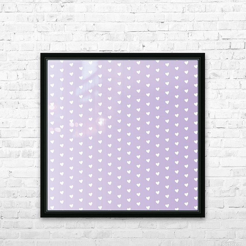 Spring Purple Heart Shape Pattern HD Sublimation Metal print with Decorating Float Frame (BOX)