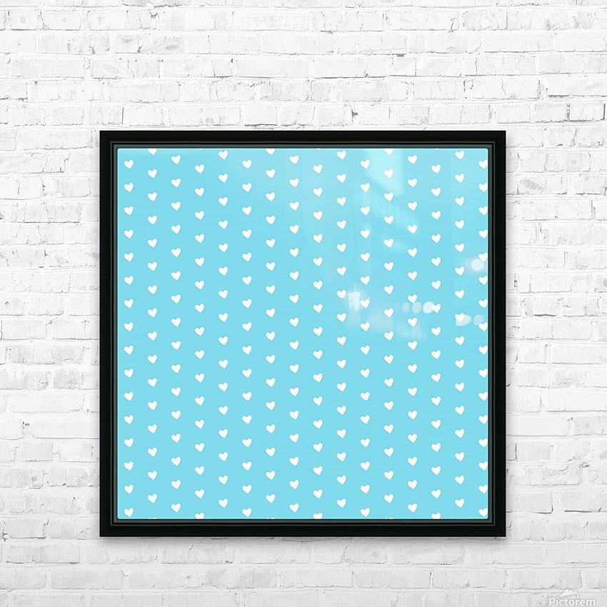 Sky Blue Heart Shape Pattern HD Sublimation Metal print with Decorating Float Frame (BOX)
