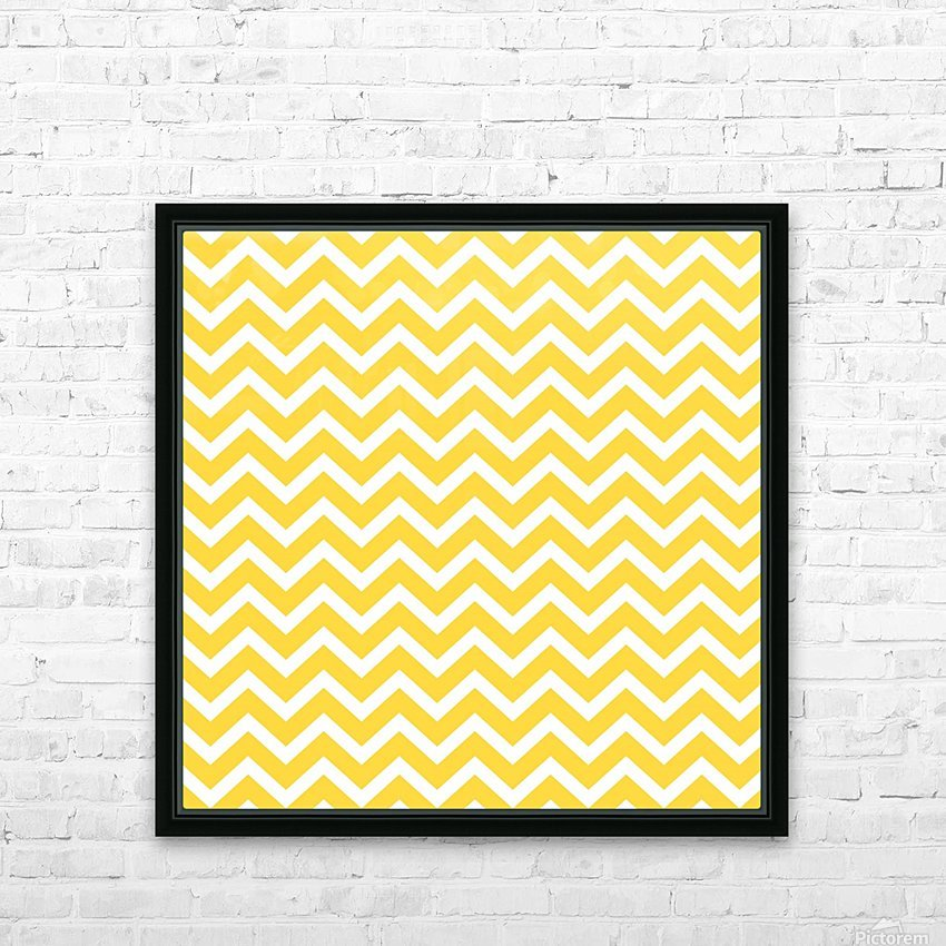 EGG YELLOW CHEVRON HD Sublimation Metal print with Decorating Float Frame (BOX)