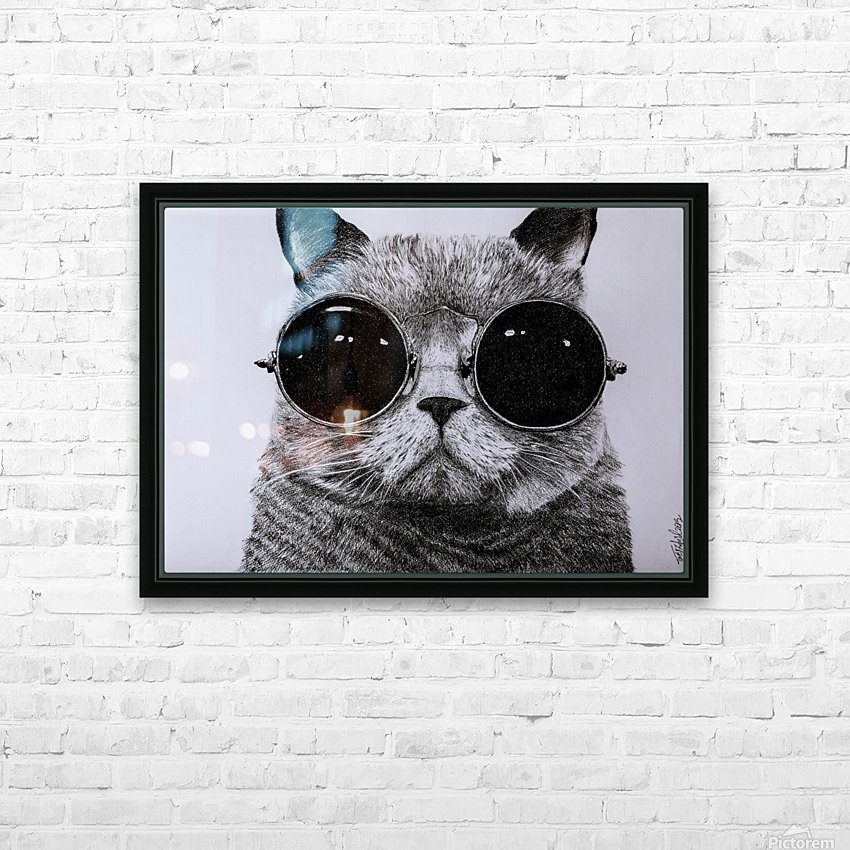 The Cat with glasses HD Sublimation Metal print with Decorating Float Frame (BOX)