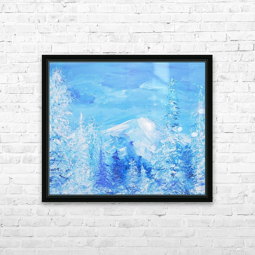 Monochromatic Blue Rocky Mountains HD Sublimation Metal print with Decorating Float Frame (BOX)