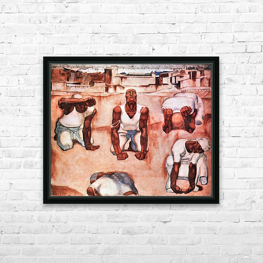 The men by Albin Egger-Lienz HD Sublimation Metal print with Decorating Float Frame (BOX)