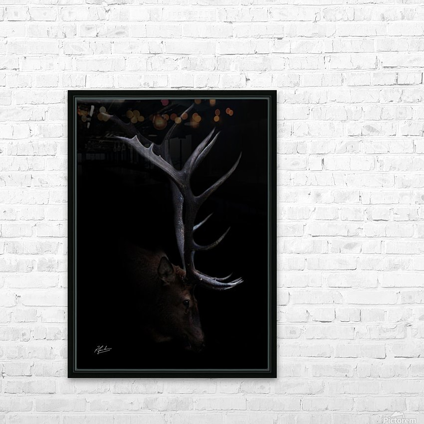 Elk in Black HD Sublimation Metal print with Decorating Float Frame (BOX)