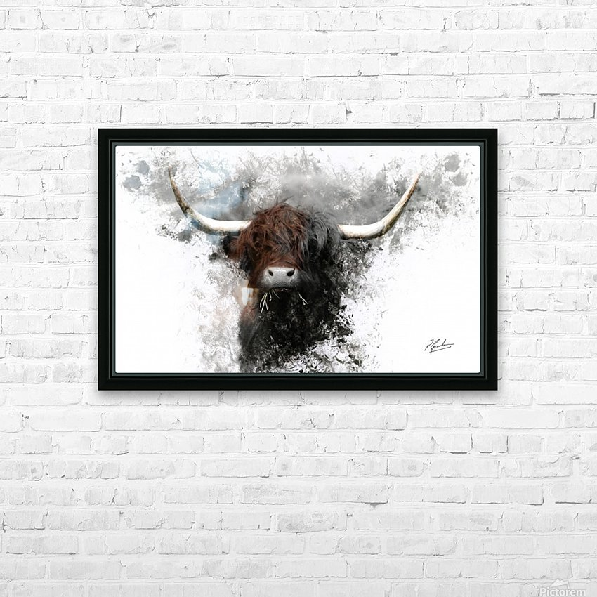 Highland Cow in Ink HD Sublimation Metal print with Decorating Float Frame (BOX)