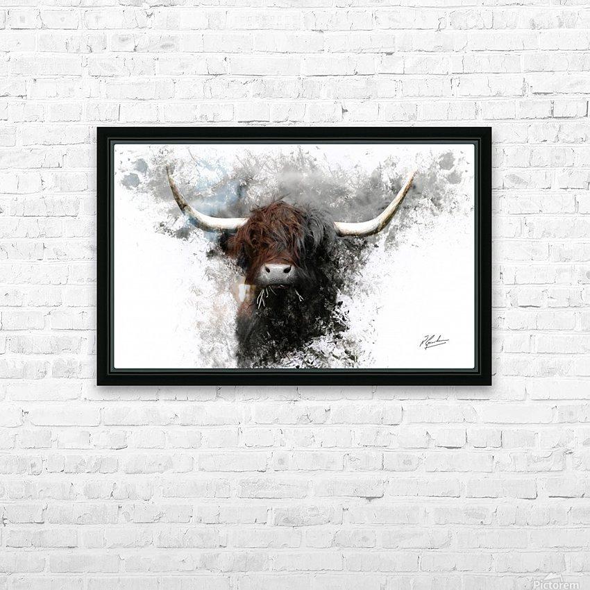Highland Cow in Ink HD sublimation métal imprimé avec décoration flotteur cadre (boîte)