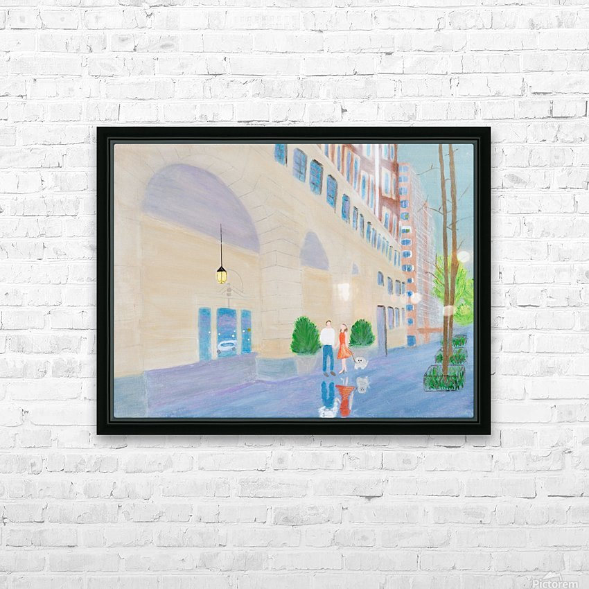 Walking the Dog  2 HD Sublimation Metal print with Decorating Float Frame (BOX)