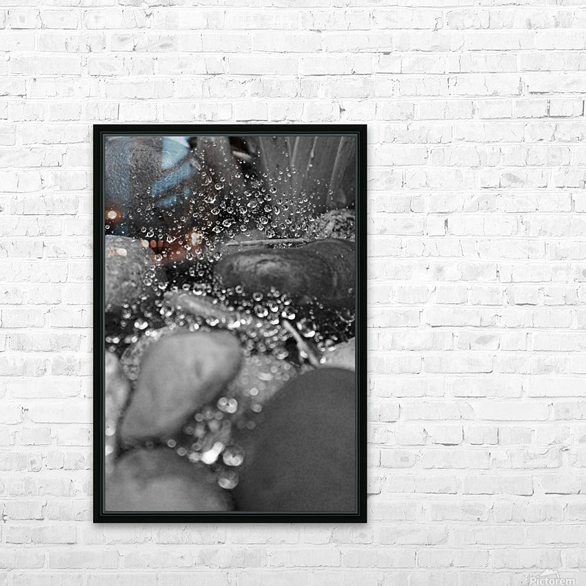 Spiderweb Raindrops B&W HD Sublimation Metal print with Decorating Float Frame (BOX)