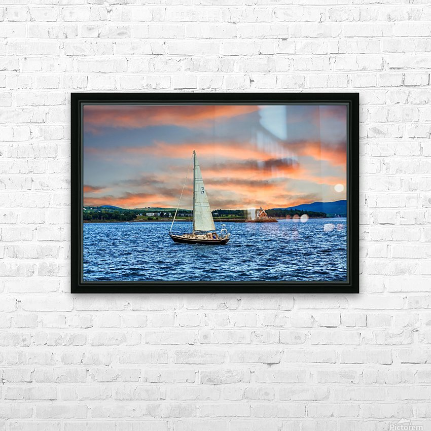 Sailboat and Lighthouse HD Sublimation Metal print with Decorating Float Frame (BOX)