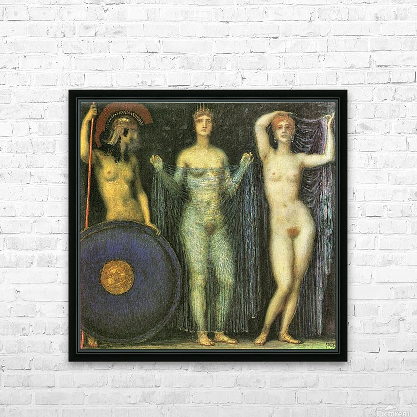 The three Goddesses Athena, Hera and Aphrodite by Franz von Stuck HD Sublimation Metal print with Decorating Float Frame (BOX)