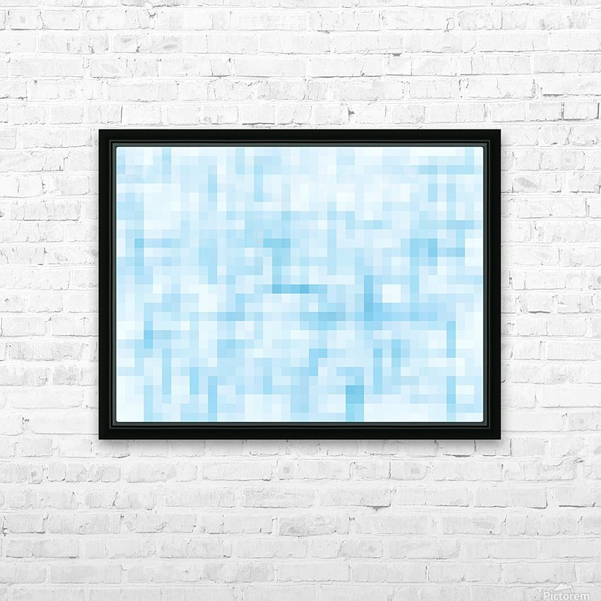 geometric square pixel pattern abstract in blue HD Sublimation Metal print with Decorating Float Frame (BOX)