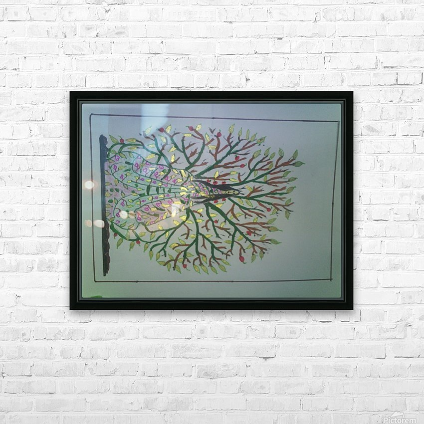 tree with angel art HD Sublimation Metal print with Decorating Float Frame (BOX)