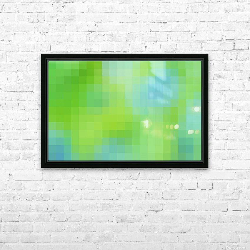 Abstract Pixel Art - blue and green 2 HD Sublimation Metal print with Decorating Float Frame (BOX)