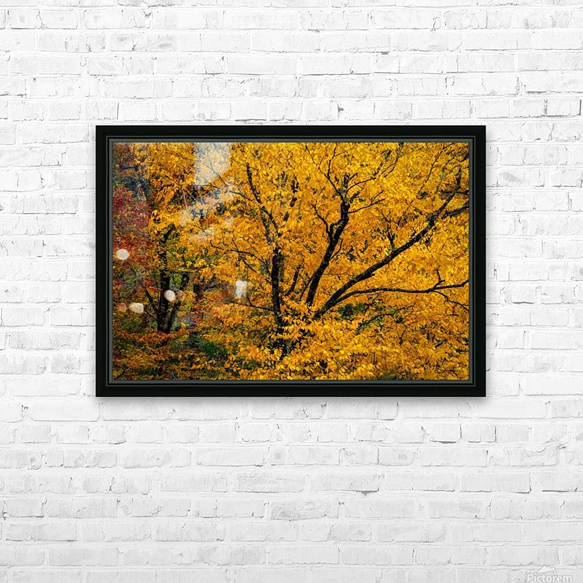 Yellow Tree Leaves HD Sublimation Metal print with Decorating Float Frame (BOX)