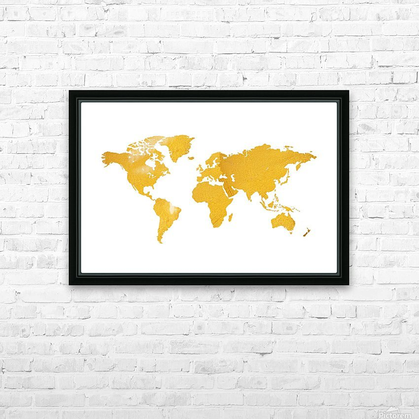 Golden World Map - White Background HD Sublimation Metal print with Decorating Float Frame (BOX)