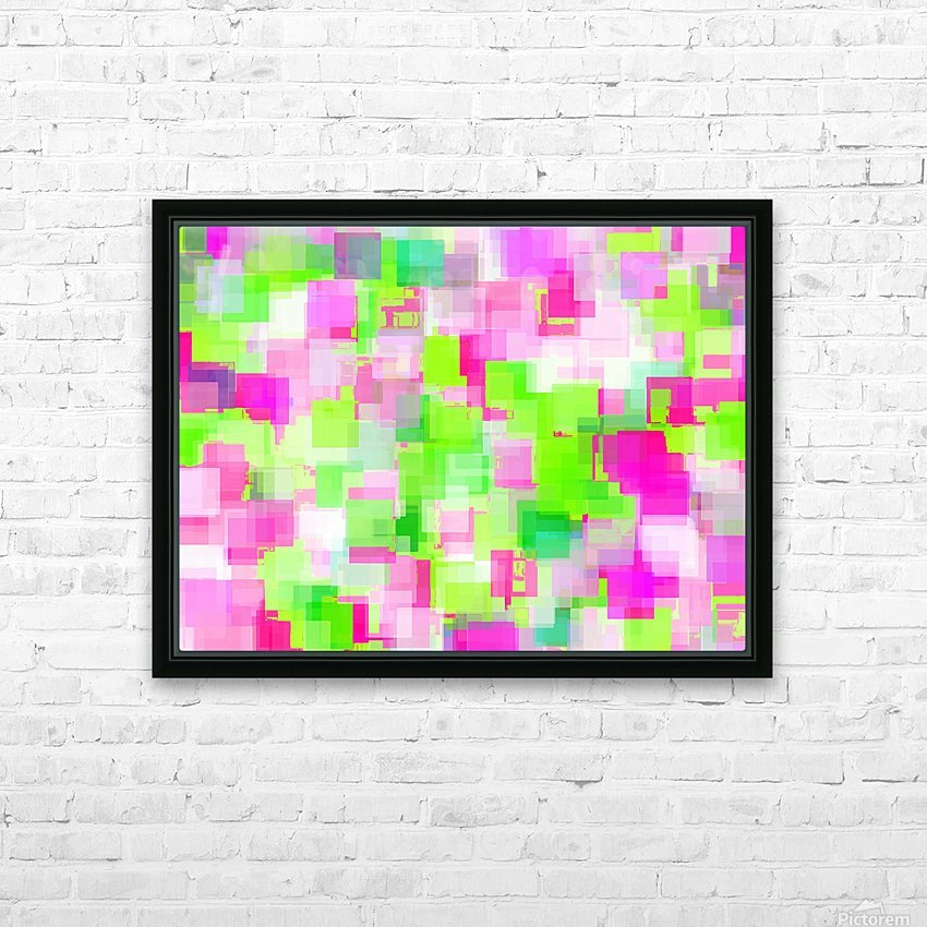 geometric square pattern abstract background in pink and green HD Sublimation Metal print with Decorating Float Frame (BOX)