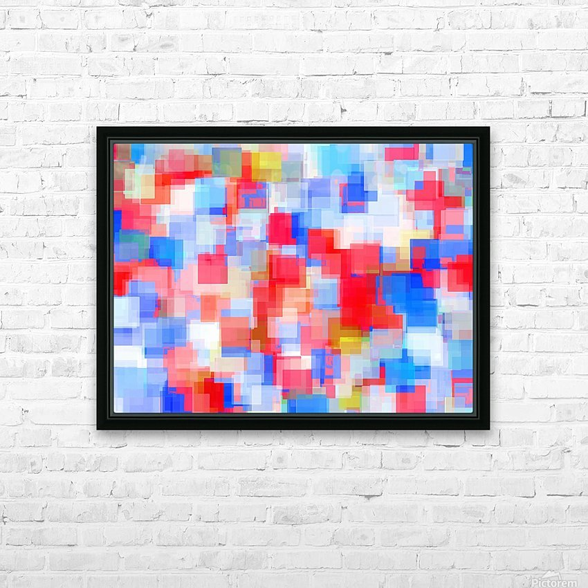 geometric square pattern abstract background in red and blue HD Sublimation Metal print with Decorating Float Frame (BOX)