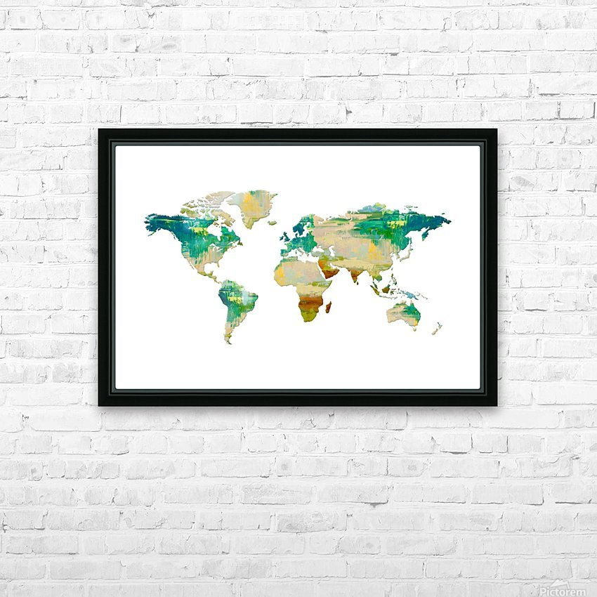 Artistic World Map I HD Sublimation Metal print with Decorating Float Frame (BOX)