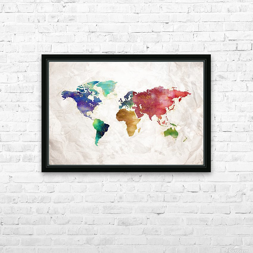Artistic World Map II HD Sublimation Metal print with Decorating Float Frame (BOX)