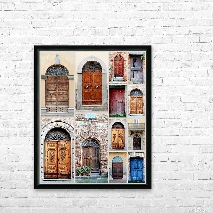 Italian Wooden Doors Collage HD Sublimation Metal print with Decorating Float Frame (BOX)
