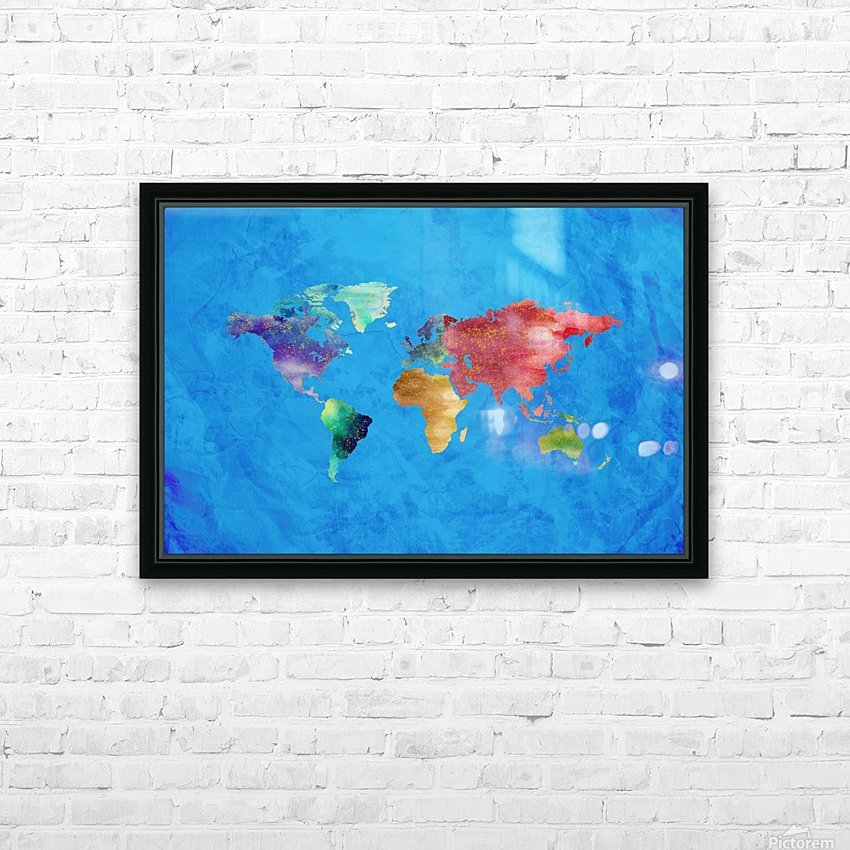 Artistic World Map III HD Sublimation Metal print with Decorating Float Frame (BOX)