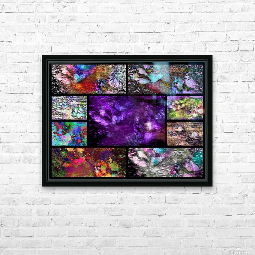 Crazy Paw Print Collage HD Sublimation Metal print with Decorating Float Frame (BOX)