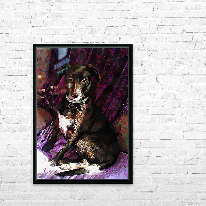 Purple Posing Puppy HD Sublimation Metal print with Decorating Float Frame (BOX)