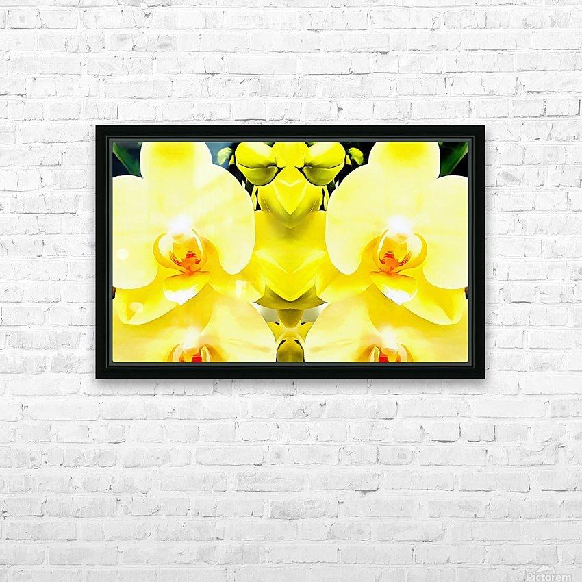 Yellow Orchid Pattern HD Sublimation Metal print with Decorating Float Frame (BOX)