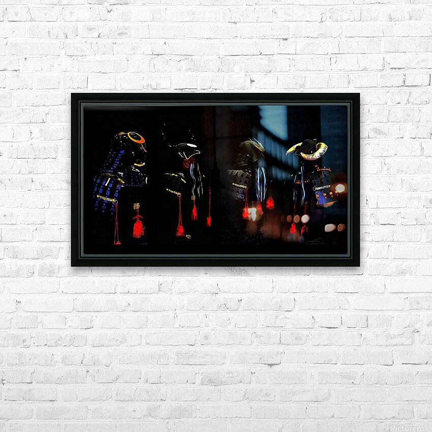 Memories of Samurai Black Armour Collage HD Sublimation Metal print with Decorating Float Frame (BOX)