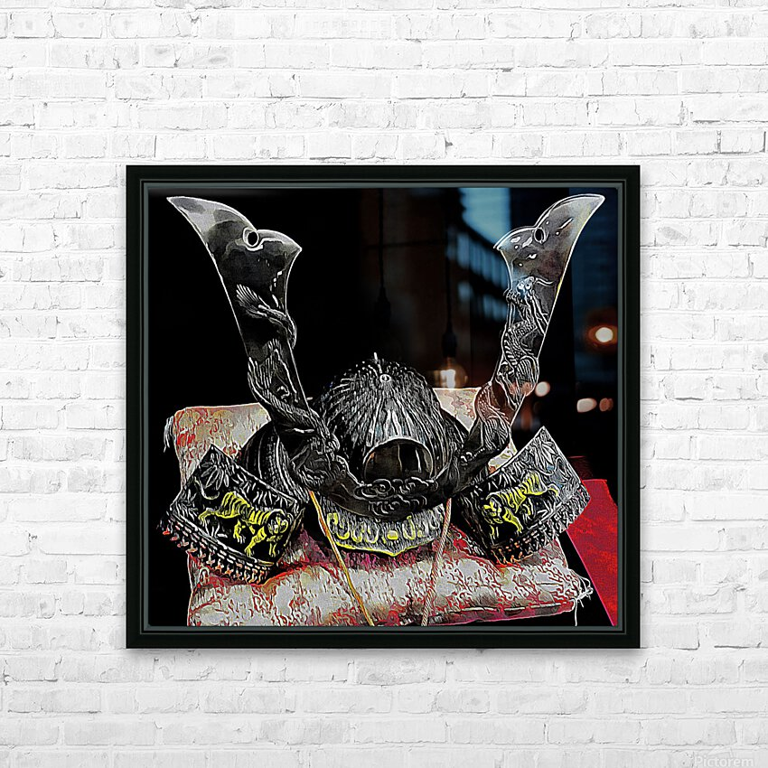 Samurai Helmet  HD Sublimation Metal print with Decorating Float Frame (BOX)