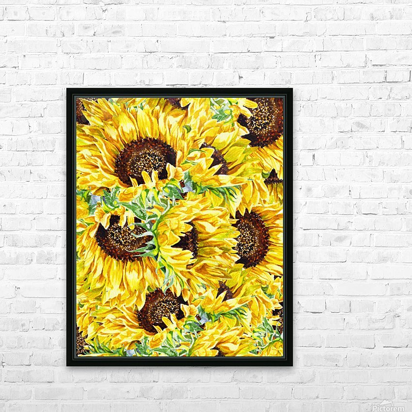 The Filed Of Watercolor Sunflowers Pattern HD Sublimation Metal print with Decorating Float Frame (BOX)