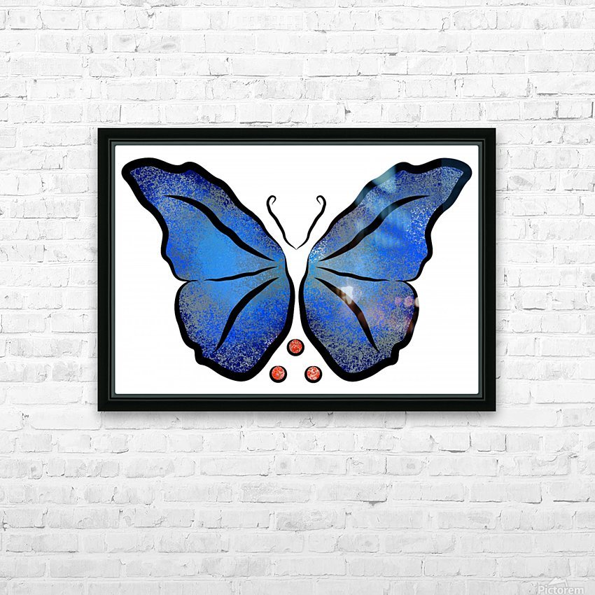Deonioro - deep blue night butterfly with pearls HD Sublimation Metal print with Decorating Float Frame (BOX)