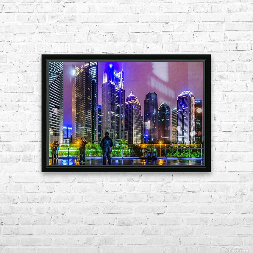 Lujiazui District Nigth Scene, Shanghai, China HD Sublimation Metal print with Decorating Float Frame (BOX)