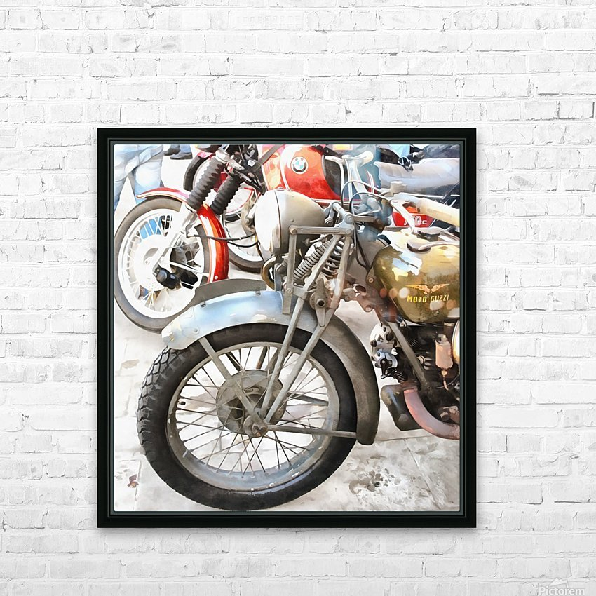 Moto Guzzi and BMW Front Wheels HD Sublimation Metal print with Decorating Float Frame (BOX)