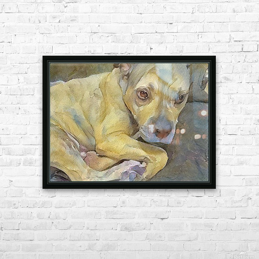 Watercolor dog painting HD Sublimation Metal print with Decorating Float Frame (BOX)