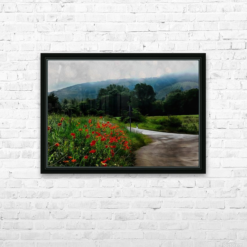 The Poppy Road to Happiness HD Sublimation Metal print with Decorating Float Frame (BOX)