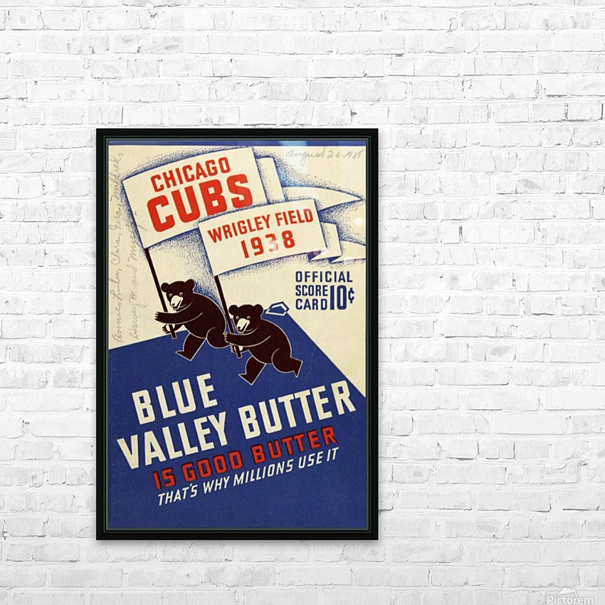 1938 Chicago Cubs Program Cover HD Sublimation Metal print with Decorating Float Frame (BOX)