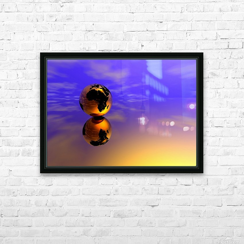 Golden Earth HD Sublimation Metal print with Decorating Float Frame (BOX)