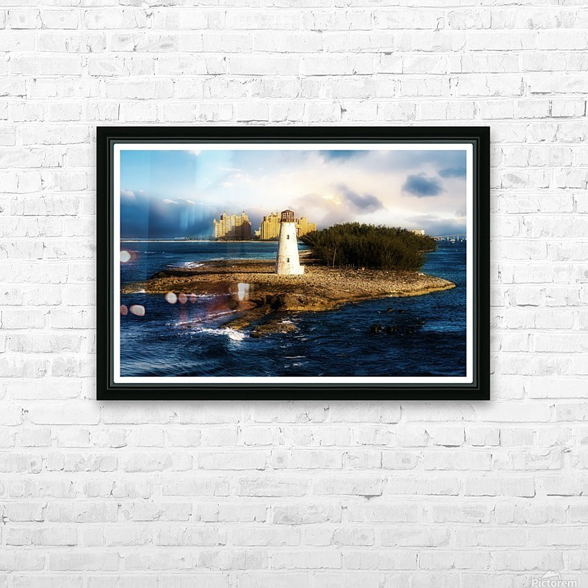 Bahamas Lighthouse with Resort Soft HD Sublimation Metal print with Decorating Float Frame (BOX)