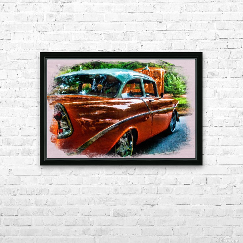 Classic Orange Car in Park Painting HD Sublimation Metal print with Decorating Float Frame (BOX)