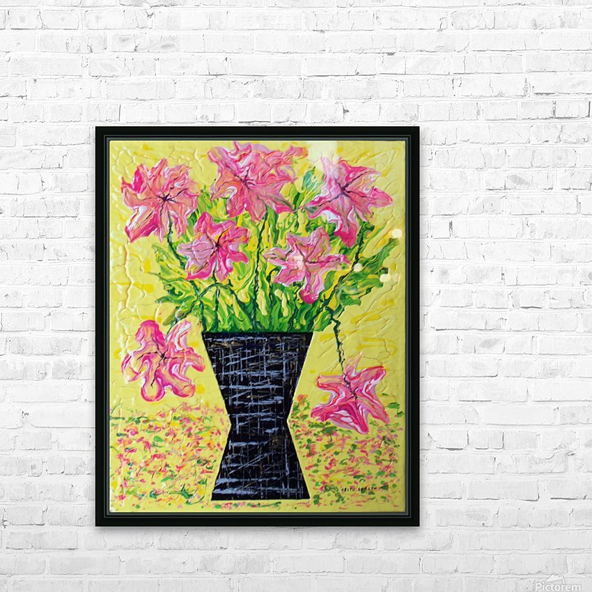 Pink Flowers in vase  HD Sublimation Metal print with Decorating Float Frame (BOX)