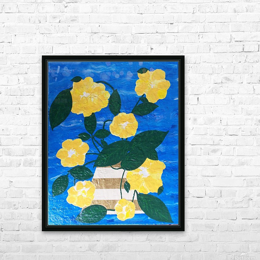 Yellow flowers in vase  HD Sublimation Metal print with Decorating Float Frame (BOX)