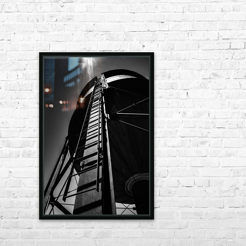 Water Tower BnW HD Sublimation Metal print with Decorating Float Frame (BOX)