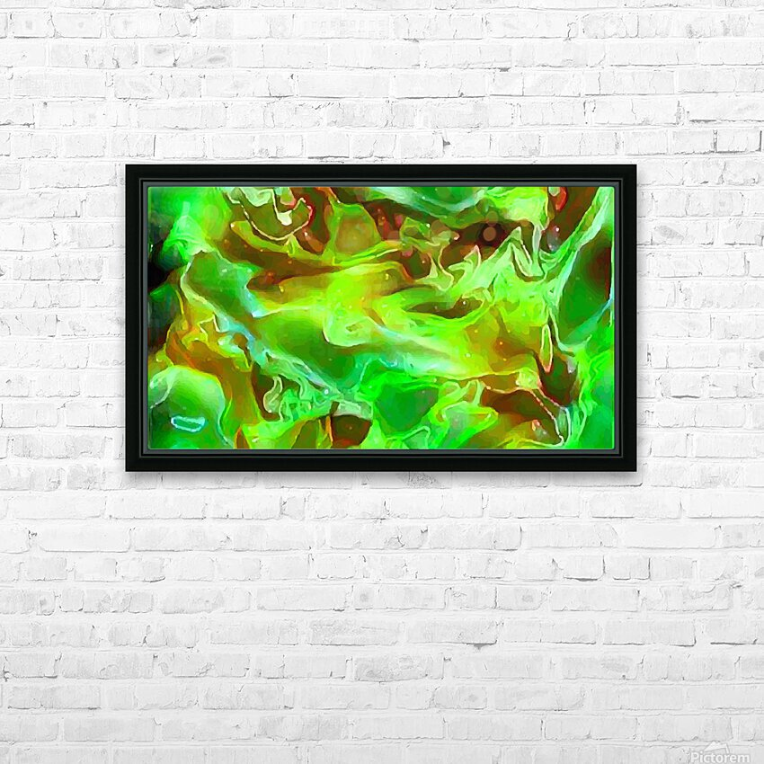 Emerald Field - green brown gold abstract swirls HD Sublimation Metal print with Decorating Float Frame (BOX)