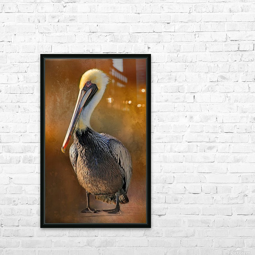 Brown Pelican Portrait HD Sublimation Metal print with Decorating Float Frame (BOX)