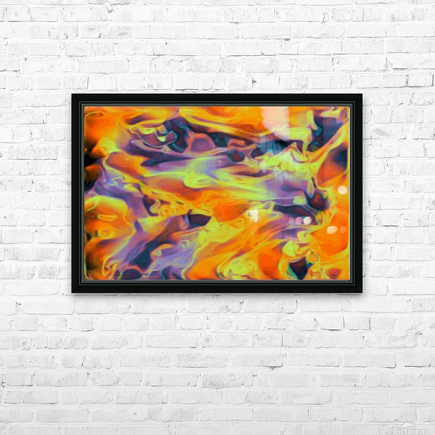 Blazin - multicolor orange gold purple abstract swirls wall art HD Sublimation Metal print with Decorating Float Frame (BOX)
