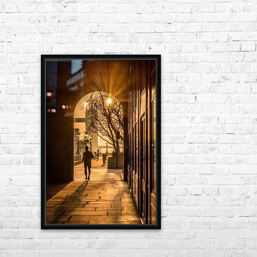 Silhouette  Tower Bridge London HD sublimation métal imprimé avec décoration flotteur cadre (boîte)