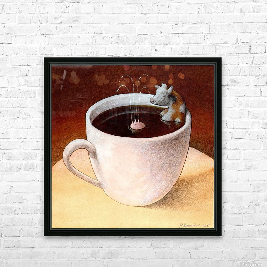 Coffee with milk HD Sublimation Metal print with Decorating Float Frame (BOX)